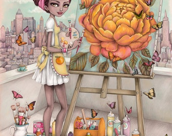 Orange Blossom - A4 Limited Edition Fine Art Print - Inspired by Strawberry Shortcake, Eighties Cartoons, and Childhood Nostalgia
