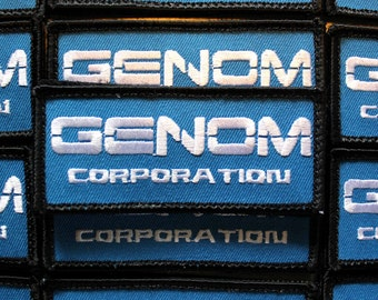"""one - """"Genom Corporation"""" Patch 1.5"""" x 3.5"""" cosplay inspired by Bubble Gum Crisis anime manga"""