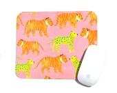 Tiger Jaguar Leopard Mouse Pad / Yellow Pink Orange White / Modern Home Office Decor / Spunky Fun Desk Accessory / Cubicle