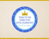 Prince Favor Stickers - Prince Birthday Stickers - Little Prince Gift Stickers - Crown Stickers - Digital or Printed Available