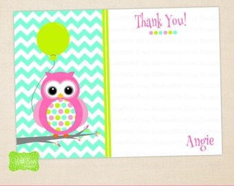 Polka Dot Owl Thank You Card - Pink Owl Thank You Card - Owl Note Card - Personalized Note Card - Emailed or Shipped Available