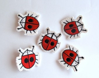 Ladybug brooch hand embroidered on cream muslin and cream felt red and black thread Spring fashion kids jewelry