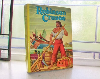 Robinson Crusoe Vintage 1950s Hardcover Book with Dust Jacket by Daniel Defoe