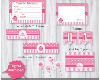 Pink Cupcake Birthday Party Pack - Instant Party Happy Birthday Download DIY Printable 6 pack YOU PRINT
