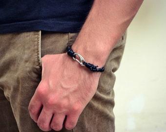 Mens Bracelet, Braided Black Leather Bracelet, Stainless Steel Silver Clasp Bracelet, Mens Leather Bracelet, Mens Jewelry, Braided Bracelet
