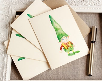 Happy Everything Elf Holiday Card Christmas Watercolor Gnome Glitter A2