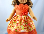 18 Inch Doll Clothes  - Seersucker Petal Doll Dress - Fits American Girl - Orange and Yellow Doll Dress