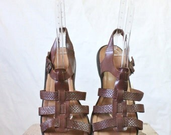 Vintage Chocolate Leather Gladiator Sandals Sz 12