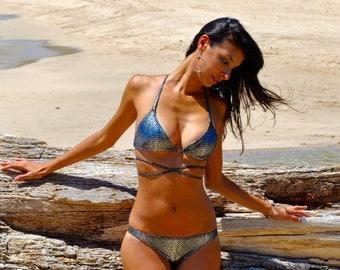 Silver Metallic Snakeskin Print T Back Braid Slide Bikini Top Long Ties Crisscross Swimsuit