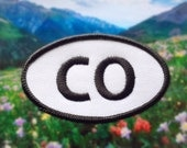 """Colorado CO Patch - Iron or Sew On - 2"""" x 3.5"""" - Embroidered Oval Appliqué - Centennial State - Black White - Hat Bag Accessory Handmade USA"""