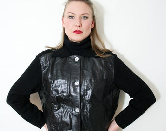 Vintage Black Leather and Knit Cropped Button Down Jacket