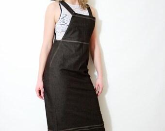 Vintage Jumper Dress Brown Denim Overall Apron Dress