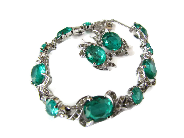Panetta Jewelry Signed Estate Jewelry Set Rare Green Emerald Bracelet Clip  On Earrings Earings Bridal Bride