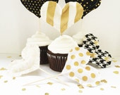 Party Toppers, black and gold cupcake toppers, black and gold wedding, party pick, cupcake topper, black and gold, Black and gold party gold