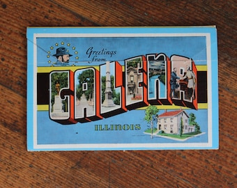 Vintage Postcard with Pictures - Greetings from Galena Illinois, General Grant's Home