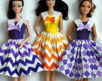Barbie Clothes Tailor Made by Tunafairy - White Collared Sun Dresses in a Choice of Fabrics for Barbie or Similar Doll