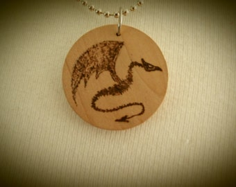 Dragon Pendant Wooden Pyrography Burned Drawing Beech Disc Hand-made OOAK