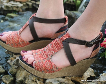 Ethnic Womens Sandals Tribal Naga Embroidery Faux Leather Straps Wedge Heel Vegan - Leighanna