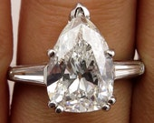 Colorless 4.27ct Estate Vintage Solitaire PEAR Shaped and Baguettes Diamond Engagement, Anniversary Platinum Ring
