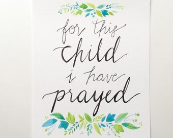 Art print for this child I have prayed blue green