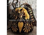 Floral Garland - Shoulder Drawstring Bag  PDF Crochet Pattern