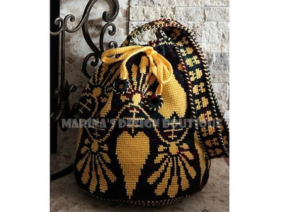 Floral Garland - Shoulder Drawstring Bag  PDF Crochet Pattern