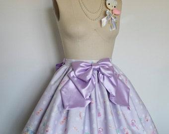 Sugary Sweet Violet Polka Dot Candy Land Skirt with Matching Satin Bow, Sweet Lolita