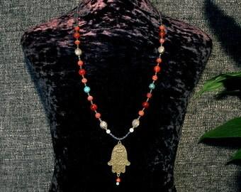 Hamsa Necklace, Ethnic Jewelry, Dzi Necklace, Tribal Necklace, Statement Necklace, Long, Boho Necklace, Hippie Necklace, Beadwork