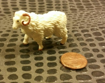 Miniature Ram / Farm Animal / Sheep / Small Terrarium Supply / Diorama / mixed media / altered art / Assemblage supplies / livestock