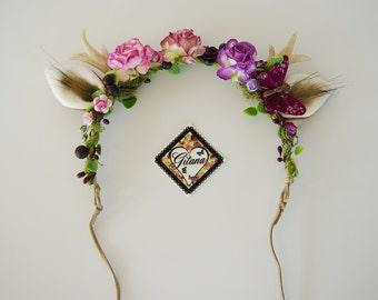Flower Deer Antler Headband-Lolita Headband- Deer Crown- Lolita accessories-Whimsical-Woodland-Horns