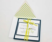 Heart with Initials Wedding Invitation, Navy Wedding Invitation, Lime Green Wedding Invitation, Dot Invitation, Wedding Invitation Suite