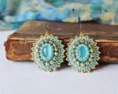 Blue Gold Earrings Light Blue Earrings Sky Blue dangle Earrings Cabochon Earrings Glass beads Earrings Boho style earrings Blue Gold Jewelry