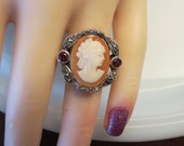 Vintage Antiqued Sterling Silver Garnet Marcasite Carved Shell Victorian Lady Cameo filigree Wide ring