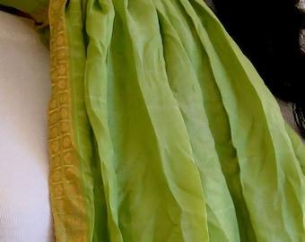 Green Scarf, Silk scarf, Sari Scarf
