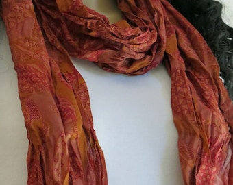 Brown Summer Scarf, Silk scarf, Flower Scarf