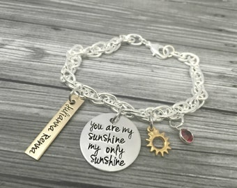 """Personalized  """"You Are My Sunshine My Only Sunshine"""" Sun Gold And Silver Charm Necklace- Hand Stamped Jewelry - Personalized Jewelry"""
