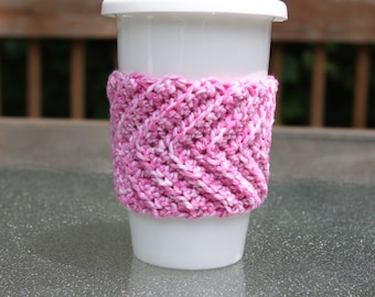 Chevron Cup Cozy in Flamingo Splash - Ready to Ship