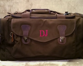 Set of 3 Canvas Duffle Bags Monogrammed Groomsmen Gifts