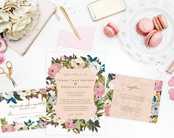 Printable Wedding Invitation Set - Do-It-Yourself  - Romantic Flowers - Pink Peach - Trang