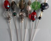 Stick Pins - Beaded Quilting Pins - Glass Beaded Stick Pins - Beaded Sewing Pins - Corsage Pins - QuiltingPins - Beaded Pins