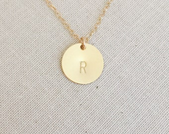 14k Gold Filled Monogram Initial Disc Necklace, 14kt Gold Filled Necklace, Personalized Disk Necklace, Gold Initial Circle Necklace