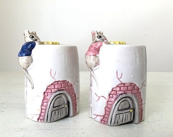 Vintage Salt and Pepper Shakers, 1950's Retro Kitchen Decor, Made in Japan, Mid Century Modern Decor,  Mouse Collectables