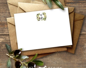 Olive Branch Wedding Thank You Note Card Printable - Flat Card