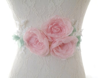 Baby Pink,Bridal Wedding Sash,Chiffon Flower Sash,Lace Embroidery Sash,Bridal Belt,Baby Girl Photoshoot,Maternity Sash,Rose Blossom