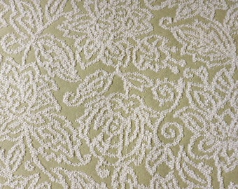 Textured Ivory and Sage Pattern Upholstery Fabric Sample, Kincaid Mariah Fabric, Designer Fabric Sample