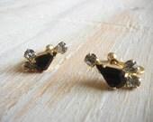 Vintage  1950's  Black and Clear  Rhinestone Earrings