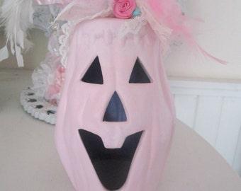 Shabby Chic Pink Pumpkin Rose Fall Halloween Decor Pale KidsFrom Shabbysweets