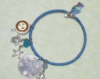 Summer Themed Bangle Charm Bracelet - Handmade Fashion Jewelry