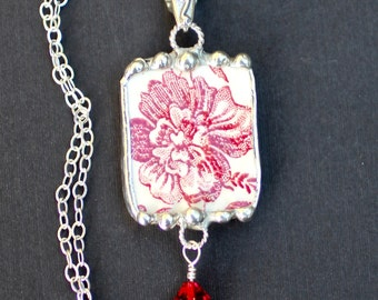 Necklace, Broken China Jewelry, Broken China Necklace, Red Transferware, Sterling Silver, Soldered Jewelry