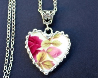 Necklace, Broken China Jewelry, Broken China Necklace, Heart Pendant, Pink and Red Rose China, Sterling Silver, Soldered Jewelry